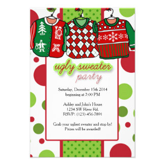 Ugly Christmas Sweater Party 9 Cm X 13 Cm Invitation Card