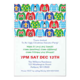 Ugly Christmas Sweater Party Holiday Xmas Party Card