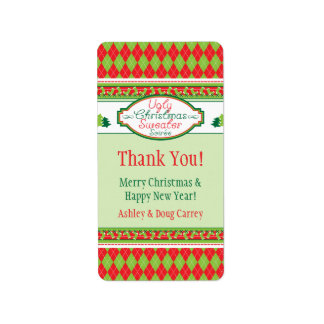 Ugly Christmas Sweater Party Xmas Favor Gift Tags Address Label