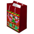 Ugly Christmas Sweater Pattern Cute Dinosaurs Medium Gift Bag