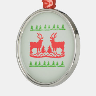 UGLY CHRISTMAS SWEATER -.png Silver-Colored Round Decoration