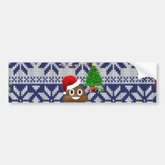 ugly Christmas sweater poop emoji Bumper Sticker