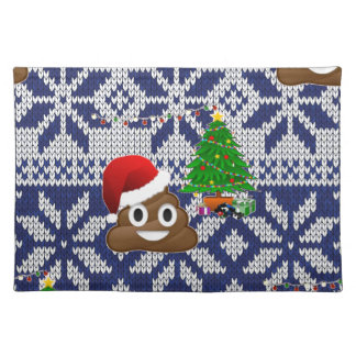ugly Christmas sweater poop emoji Placemat