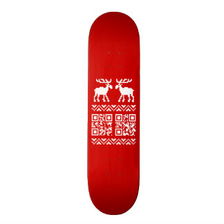 Ugly Christmas Sweater QR Code Happy New Year ! Skate Board Deck
