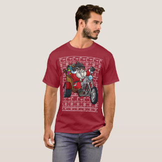 Ugly Christmas Sweater Santa Claus on Motorcycle
