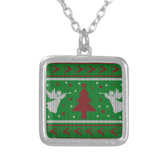 Ugly Christmas Sweater Silver Plated Necklace