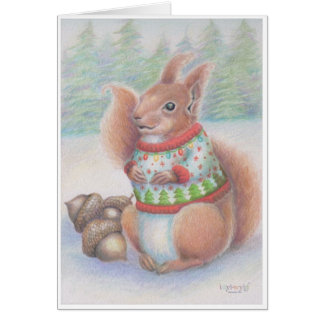 Ugly Christmas Sweater Squirrel Card by idyl-wyld