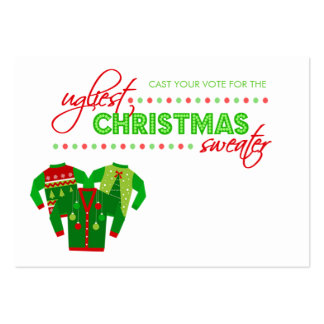 Ugly Christmas Sweater Voting Ballot Card Business Card