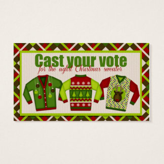 Ugly Christmas Sweater Voting Ballots Business Card