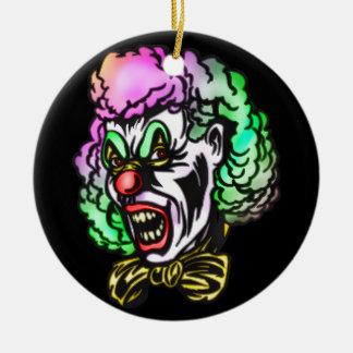 Ugly Evil Clown Round Ceramic Decoration