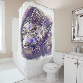 ugly fish cartoon style illustration shower curtain