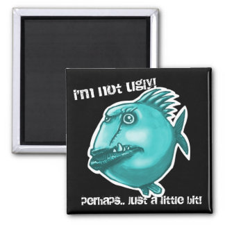 ugly fish cartoon style illustration square magnet