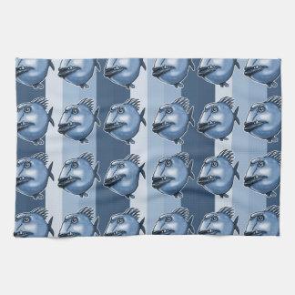 ugly fish cartoon style illustration tea towel
