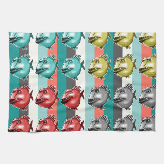 ugly fish striped background tea towel
