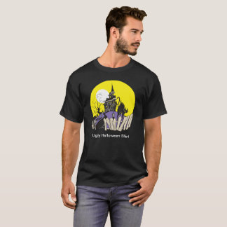 Ugly Halloween Haunted House Black Cat T-shirt