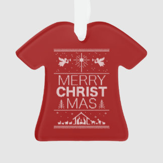 Ugly Merry Christmas Sweater  Religious Christ Red Ornament