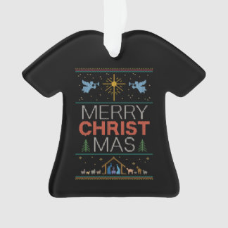 Ugly Merry Christmas Sweater Religious Colorful Ornament