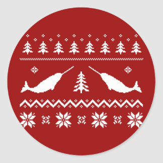 Ugly Narwhal Christmas Sweater Classic Round Sticker