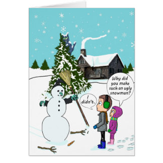 Ugly Snowman Halloween Witch Crash Best Witches Card
