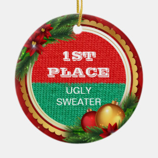 Ugly Sweater Christmas Party 1st Prize Winner Ceramic Ornament