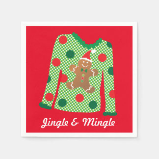Ugly Sweater Christmas Party Napkins (Red) Paper Napkin