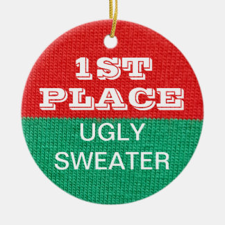 Ugly Sweater Christmas Party Winner 1st Prize Ceramic Ornament