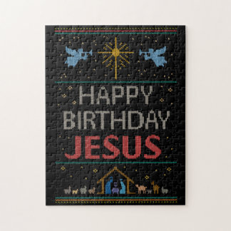 Ugly Sweater Design Happy Birthday Jesus Religious Jigsaw Puzzle