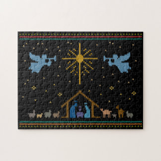 Ugly Sweater Design Nativity Christian Religious Jigsaw Puzzle
