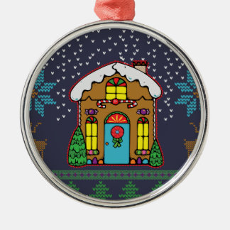 Ugly Sweater Gingerbread House Men Silver-Colored Round Decoration