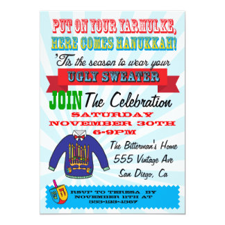 Ugly sweater Hanukkah Party Invitations