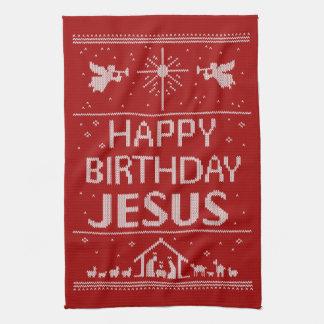 Ugly Sweater Happy Birthday Jesus Religious - Red Tea Towel