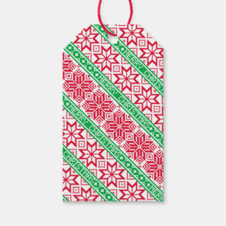 Ugly Sweater Merry Christmas Red Green Snowflake Gift Tags
