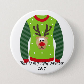 Ugly Sweater Party Reindeer Christmas Pin
