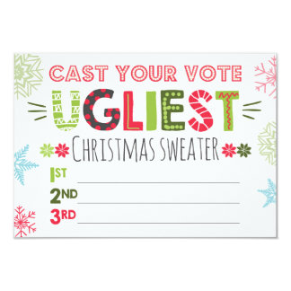 Ugly sweater voting ballot Christmas sweater Card