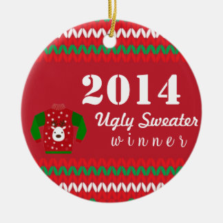 Ugly Sweater Winner Round Ceramic Decoration