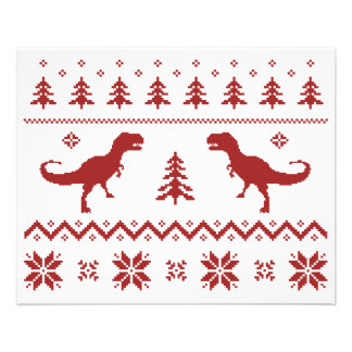 Ugly T-Rex Dinosaur Christmas Sweater Flyers