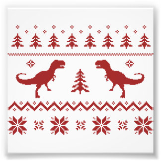 Ugly T-Rex Dinosaur Christmas Sweater Photographic Print