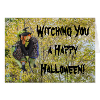 Ugly Witch on a Broomstick - Halloween Card