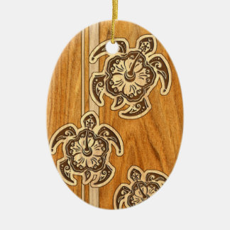 Uhane Honu Faux Wood Hawaiian Turtles Ceramic Ornament