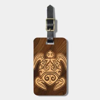 Uhane u'i Honu Faux Wood Hawaiian Turtle Luggage Tag