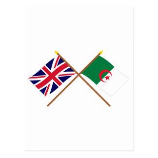 UK and Algeria Crossed Flags Postcard