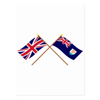 UK and Anguilla Crossed Flags Postcard