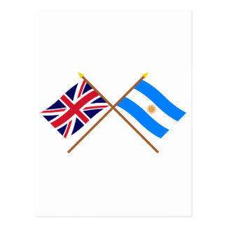 UK and Argentina Crossed Flags Postcard