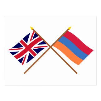 UK and Armenia Crossed Flags Postcard