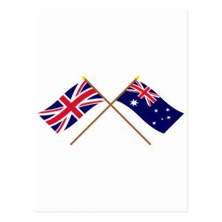 UK and Australia Crossed Flags Postcard