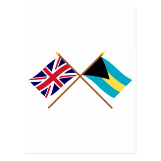 UK and Bahamas Crossed Flags Postcard