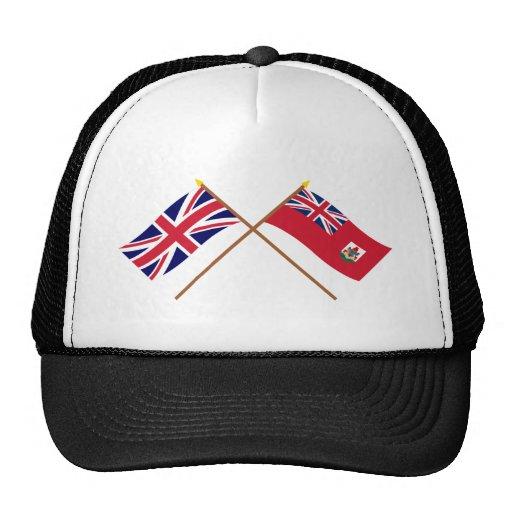 UK and Bermuda Crossed Flags Mesh Hat