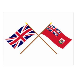 UK and Bermuda Crossed Flags Postcard