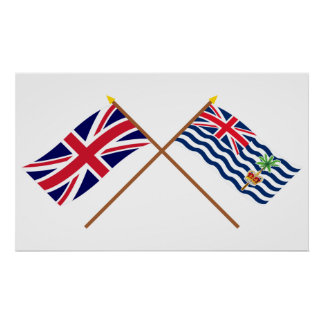 UK and BIOT Crossed Flags Posters