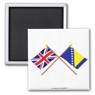 UK and Bosnia & Herzegovina Crossed Flags Square Magnet